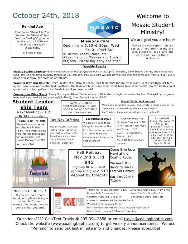 Student Event Calendar–Weekly – Coaling Baptist Church